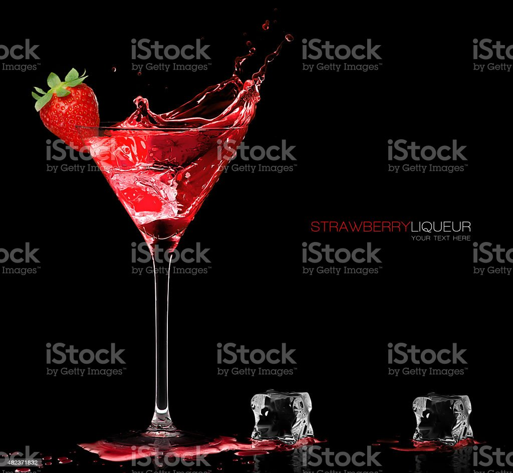 Stylish Cocktail Glass with Strawberry Liquor Splashing. Template Design stock photo