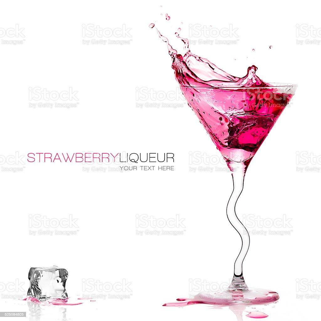 Stylish Cocktail Glass with Strawberry Liquor Splashing. Template Design stock photo