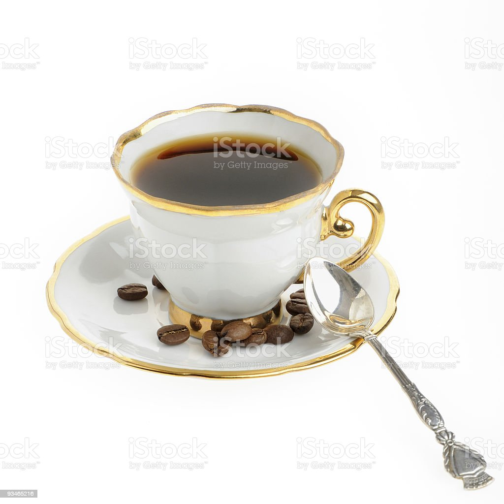 stylish coffee cup with silver spoon and seed royalty-free stock photo