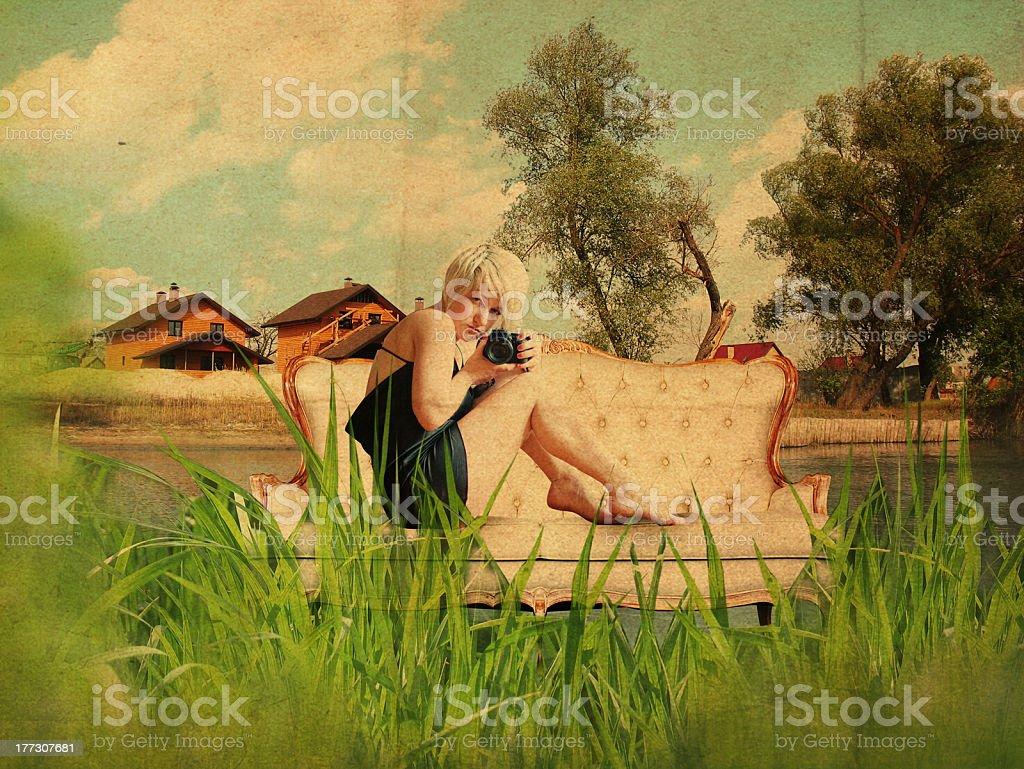 collage de mujer joven con estilo foto de stock libre de derechos