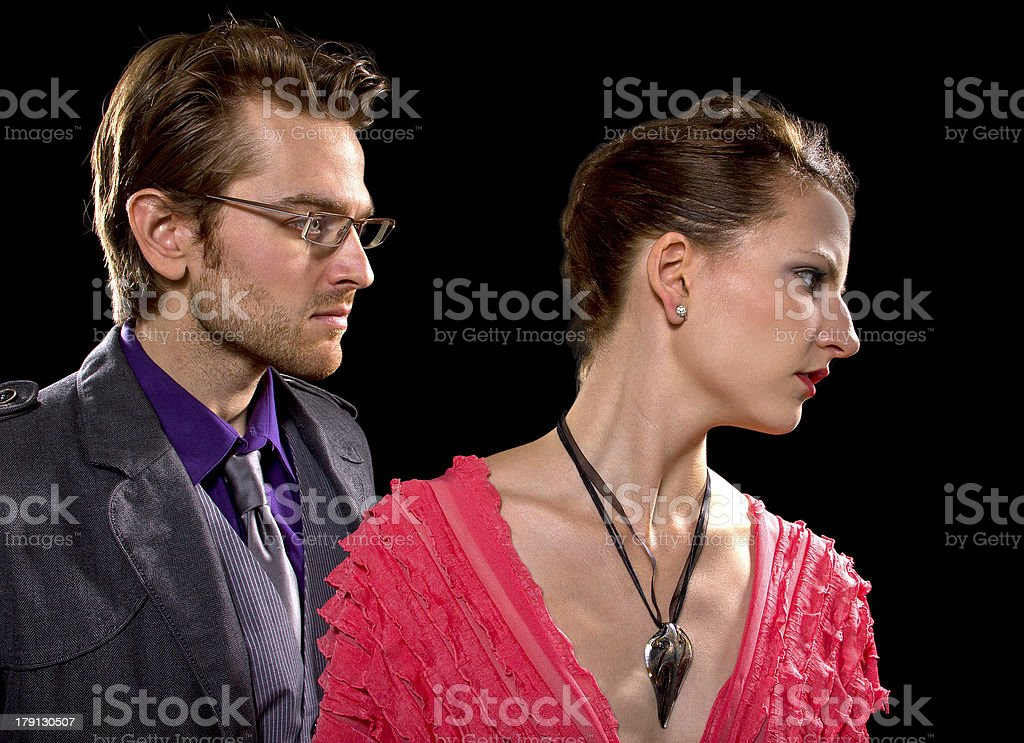 Stylish Couple Fighting on a Date Having Relationship Problems royalty-free stock photo