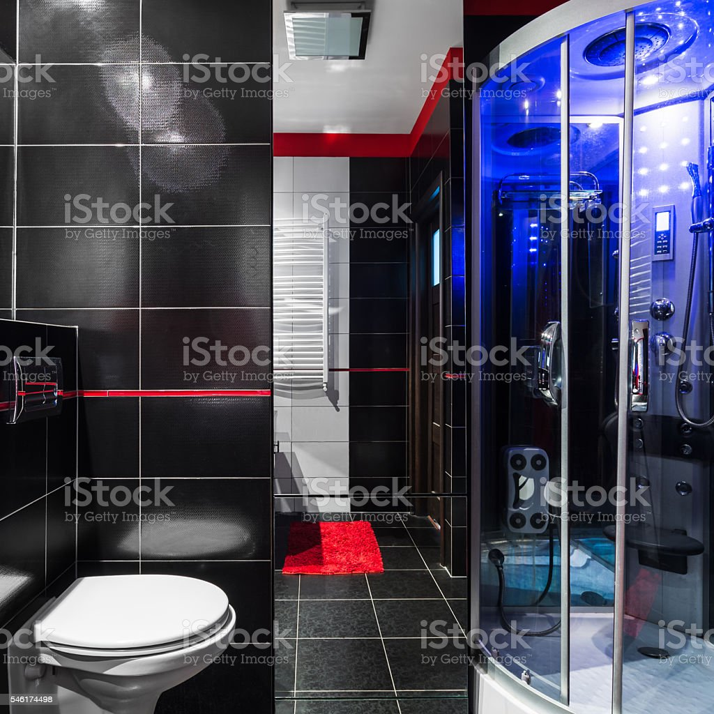 Stylish dark bathroom stock photo