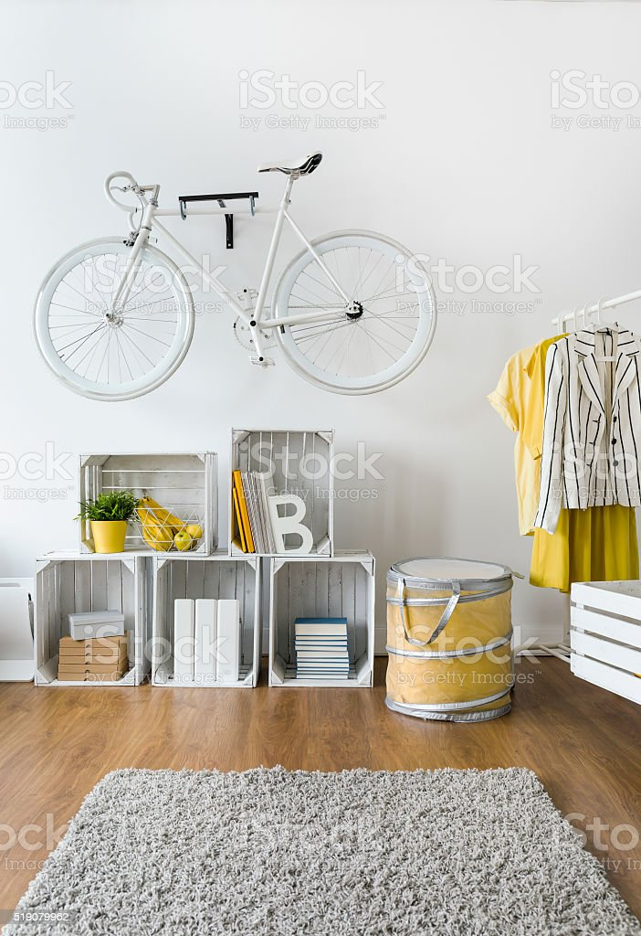 Stylish decorations in modern living room stock photo
