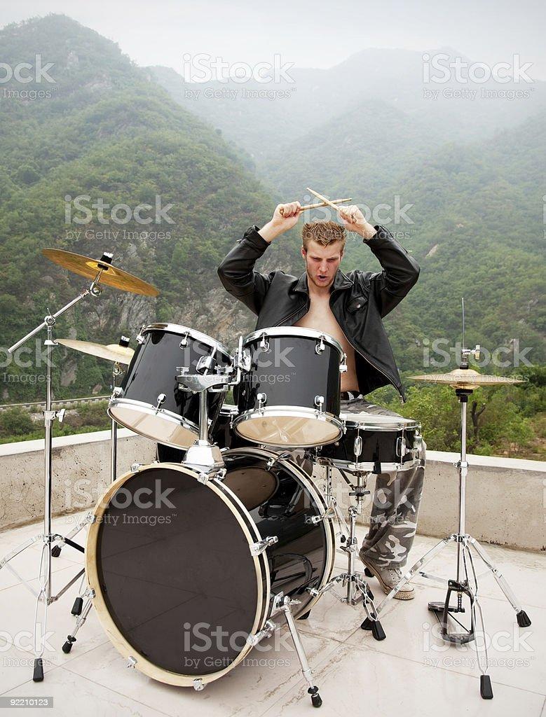 stylish drummer royalty-free stock photo