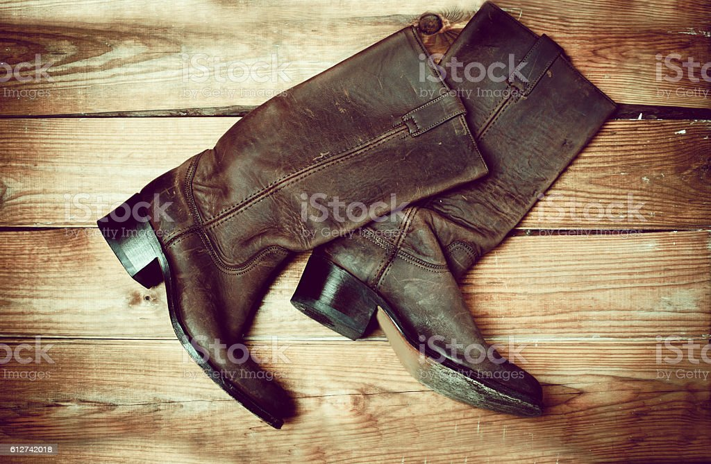 Stylish female brown boots stock photo