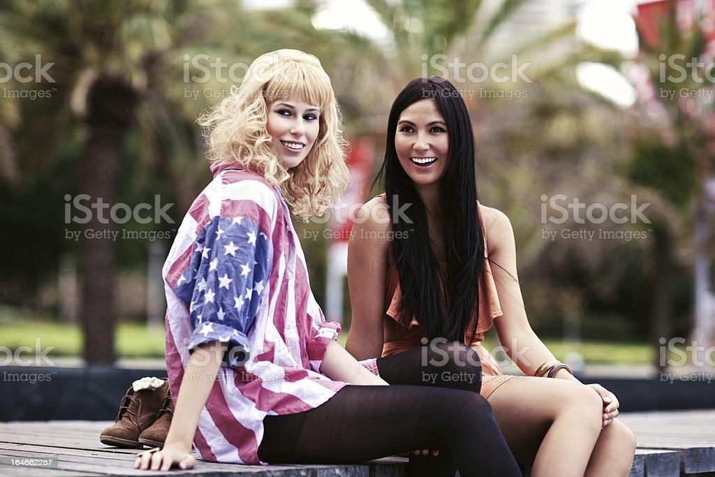 Stylish Female Friends Outdoors royalty-free stock photo