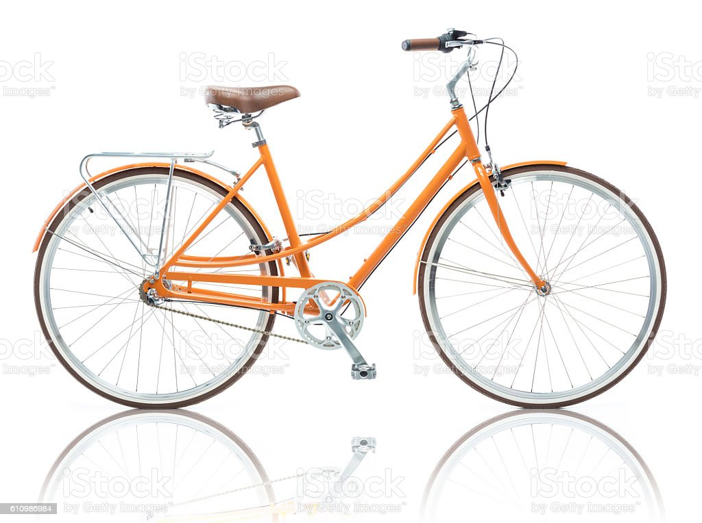 Stylish female orange bicycle isolated on white stock photo