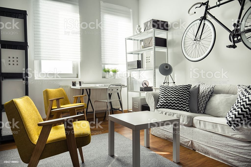 Stylish furniture in contemporary interior stock photo