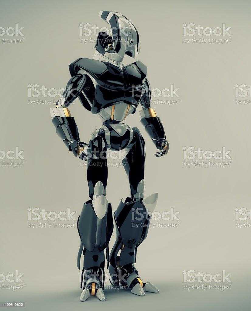 Stylish futuristic warrior stock photo