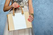 Stylish glamorous female leather bag on grey background.