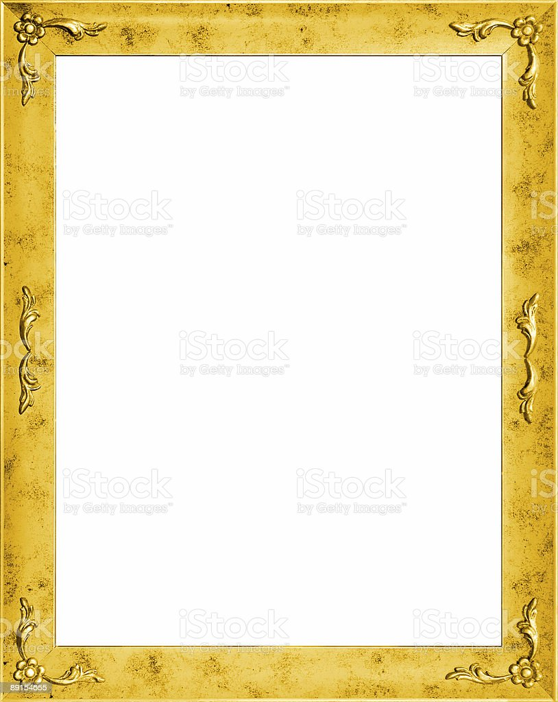 Stylish golden frame with flowers royalty-free stock photo