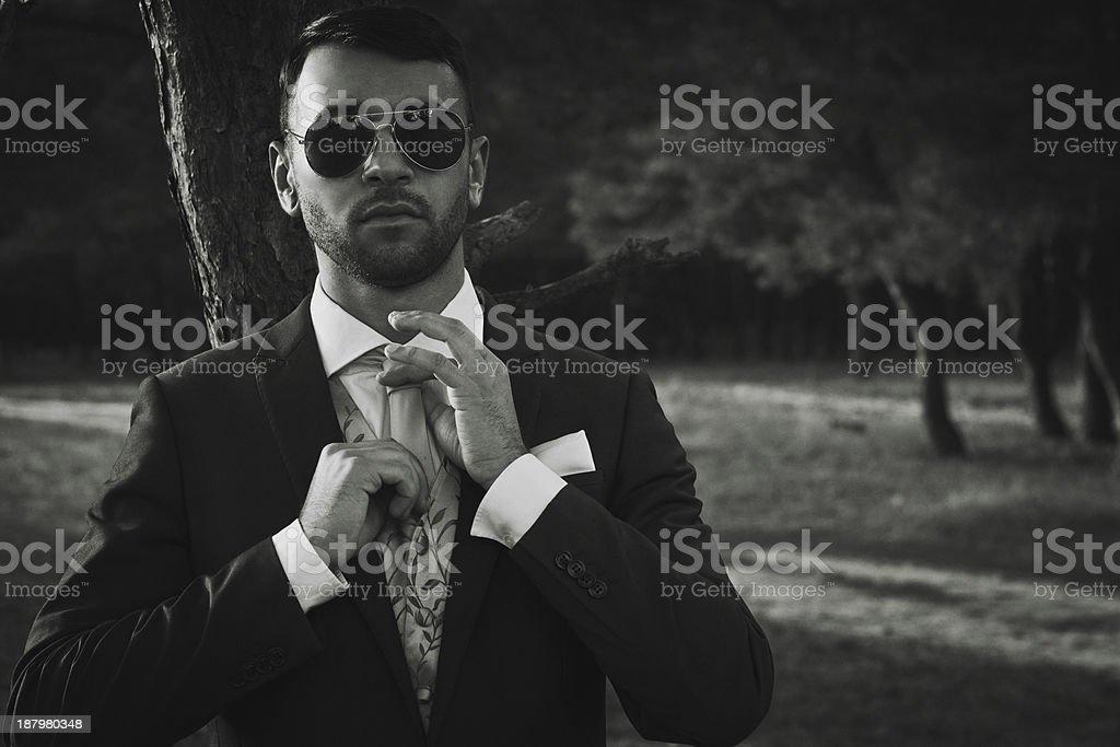 Stylish groom stock photo