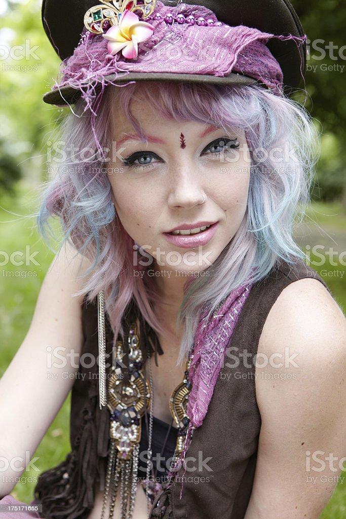 Stylish hippy woman portrait royalty-free stock photo