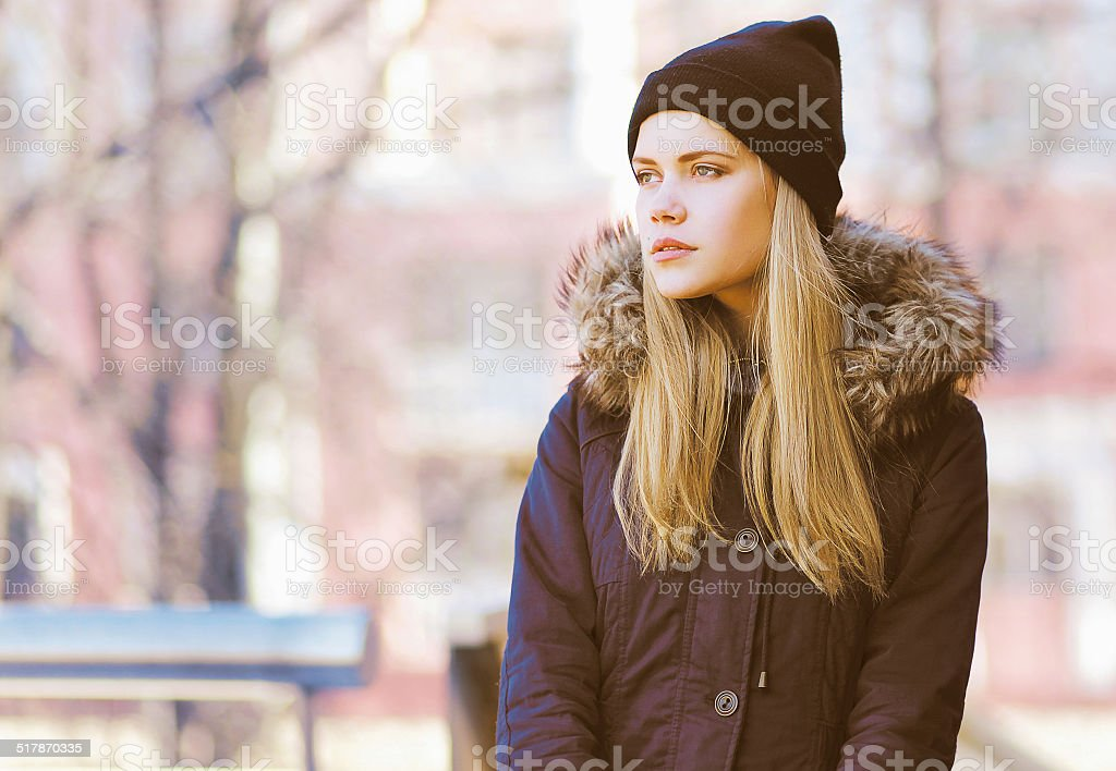 Stylish hipster girl, street fashion stock photo