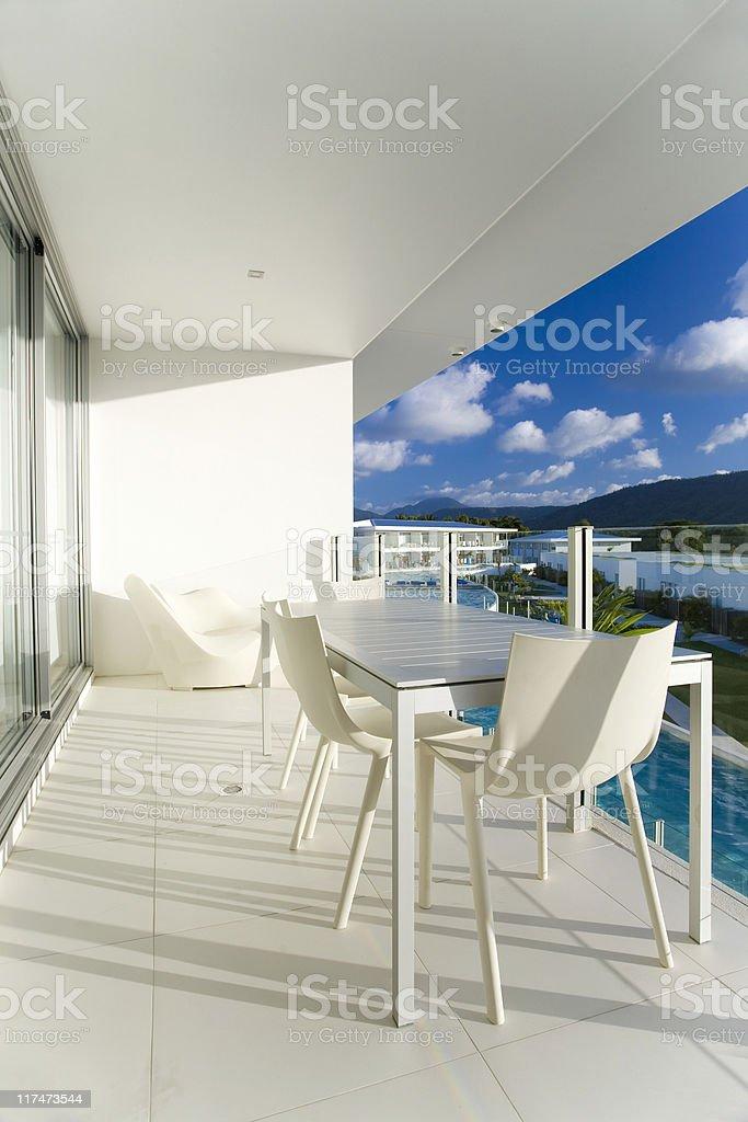 Stylish hotel patio royalty-free stock photo