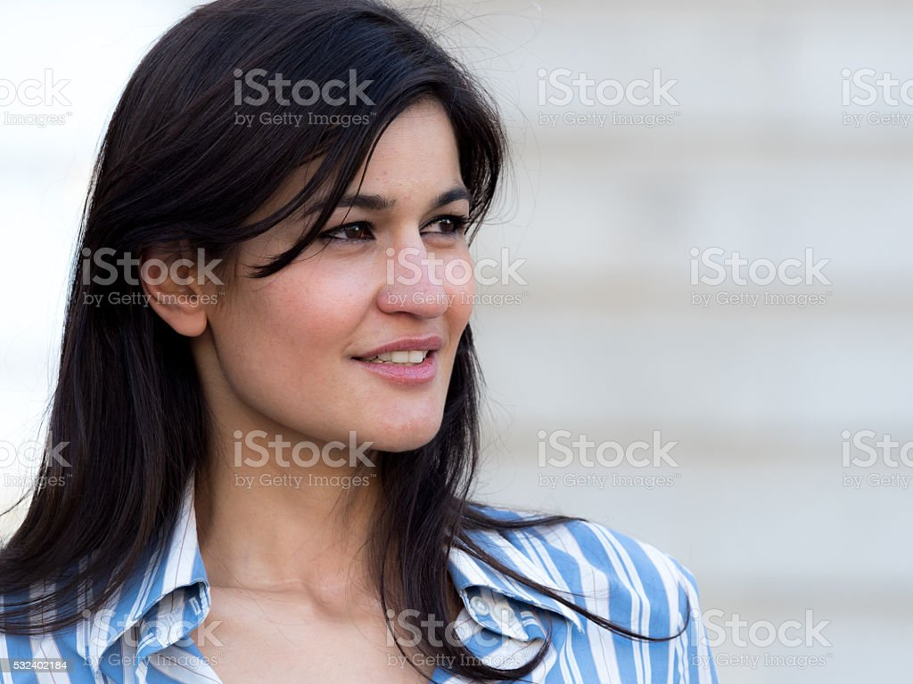 Stylish indian girl with a stripped shirtl stock photo