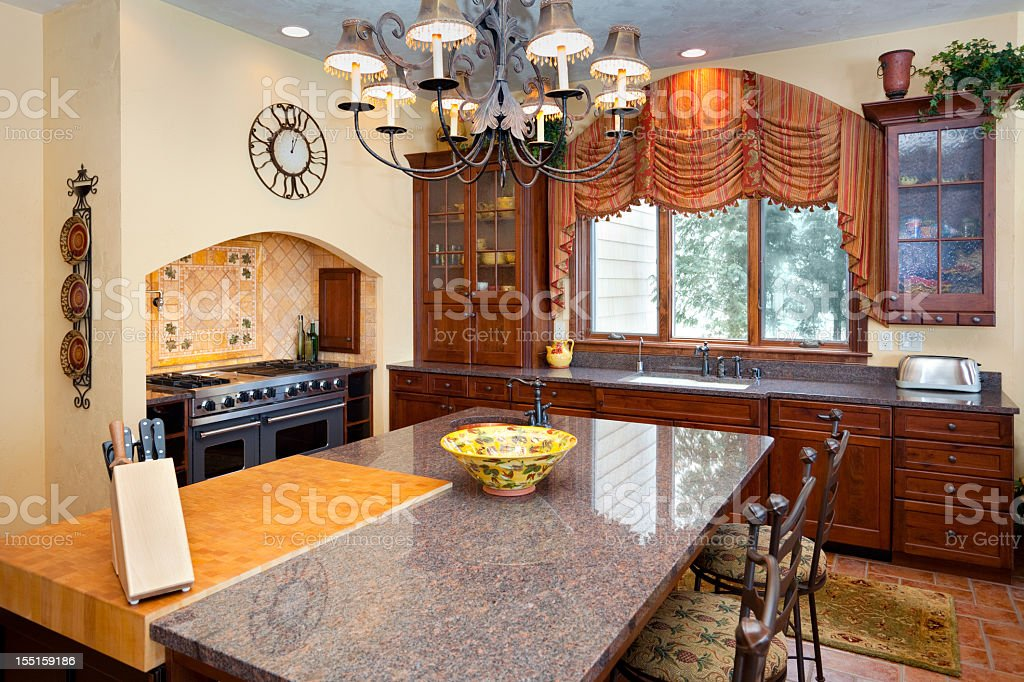 Stylish Kitchen Interior Rich With Color and Texture stock photo