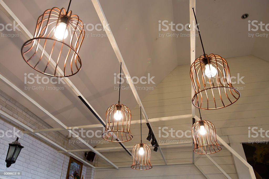stylish lampshades stock photo