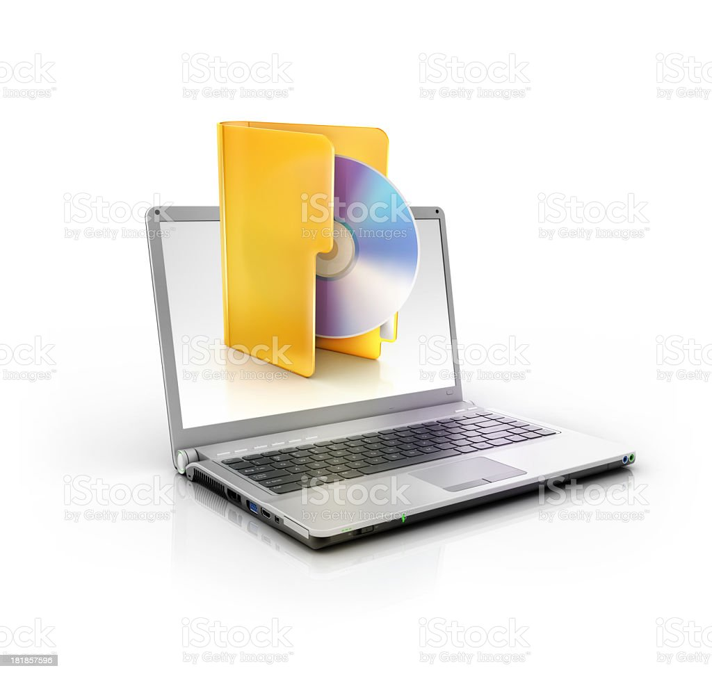 stylish laptop PC with cd or dvd blueray folder icon stock photo