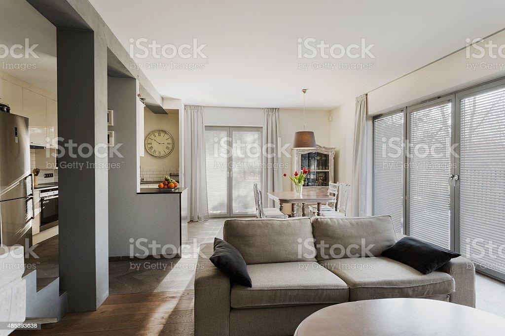 Stylish lounge and dining hall stock photo