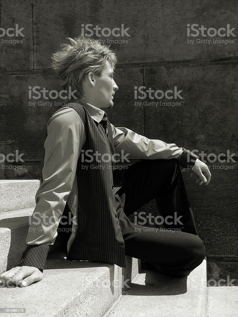 Stylish man at the stairs stock photo