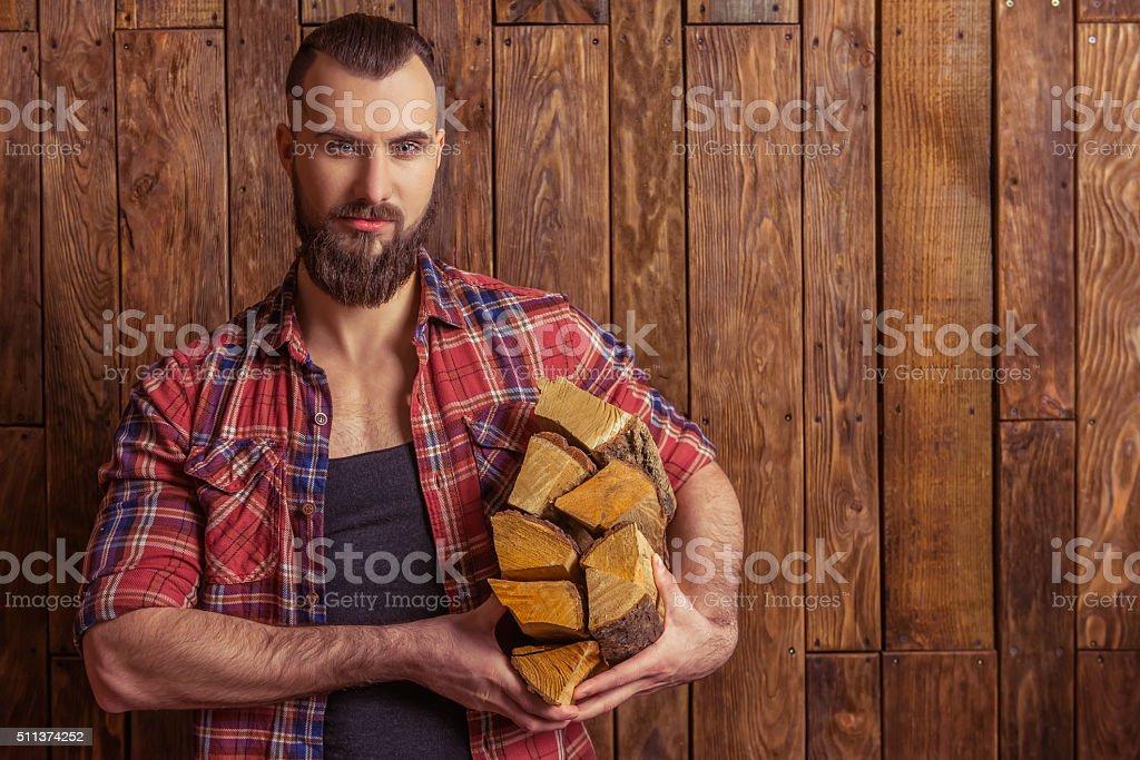 Stylish man with beard stock photo