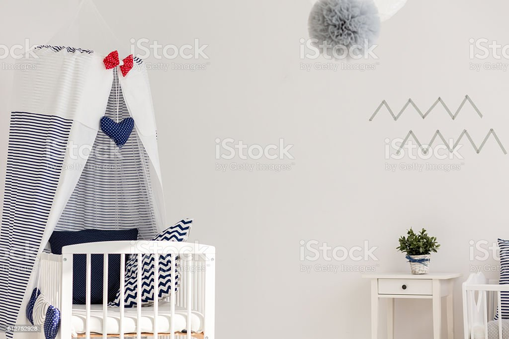 Stylish marine crib stock photo