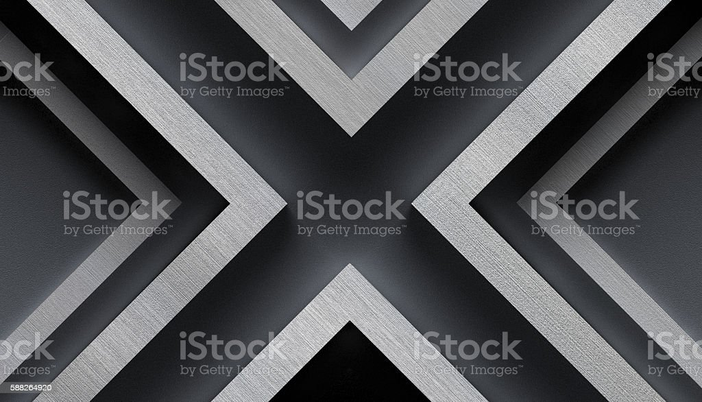 Stylish Metal Background with X Shape - 3D Illustration stock photo