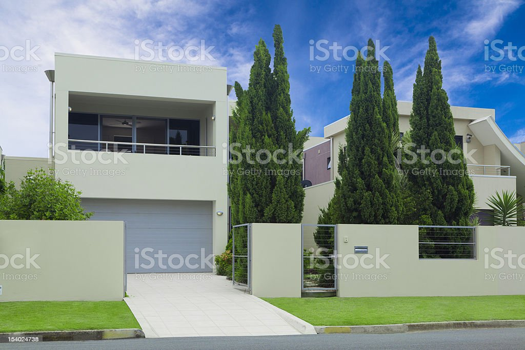 Stylish modern house front stock photo