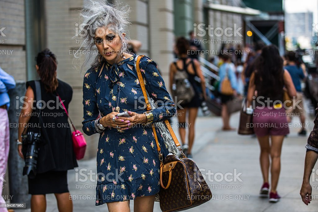 Stylish old lady stock photo