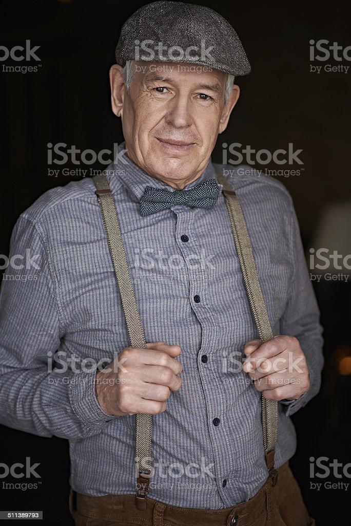 Stylish old man stock photo