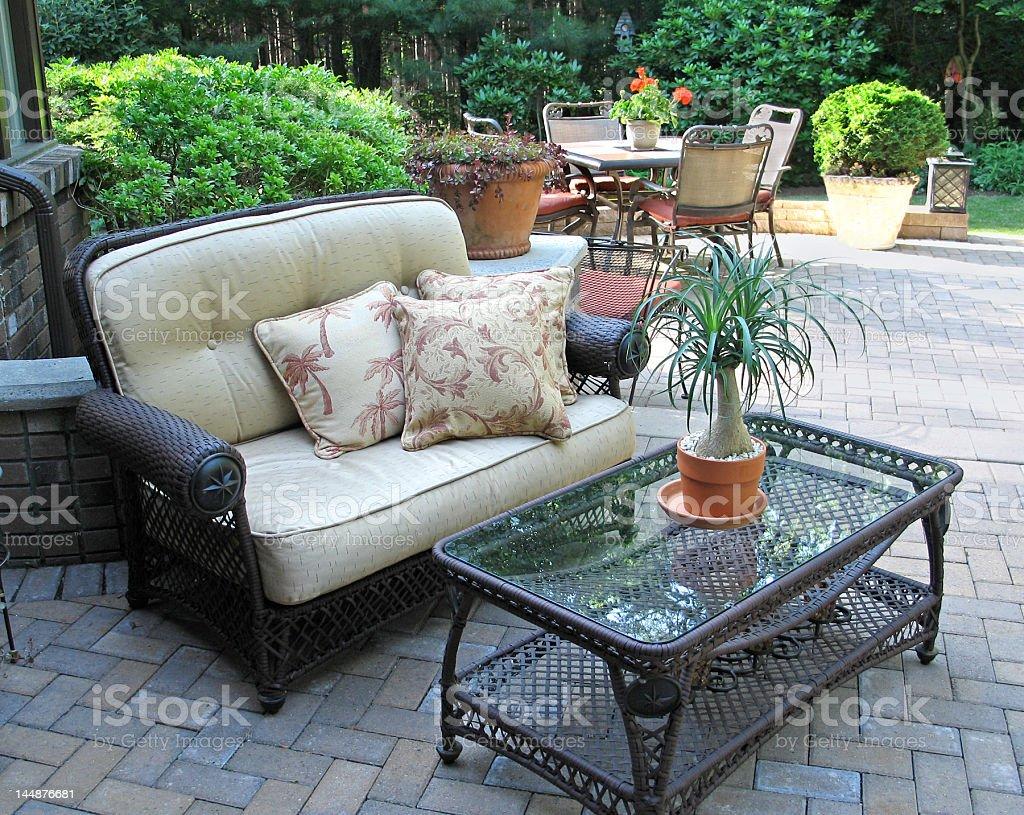 Stylish patio with furnishings stock photo
