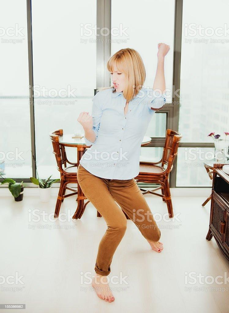 Stylish Real Woman, Dancing, Condo royalty-free stock photo