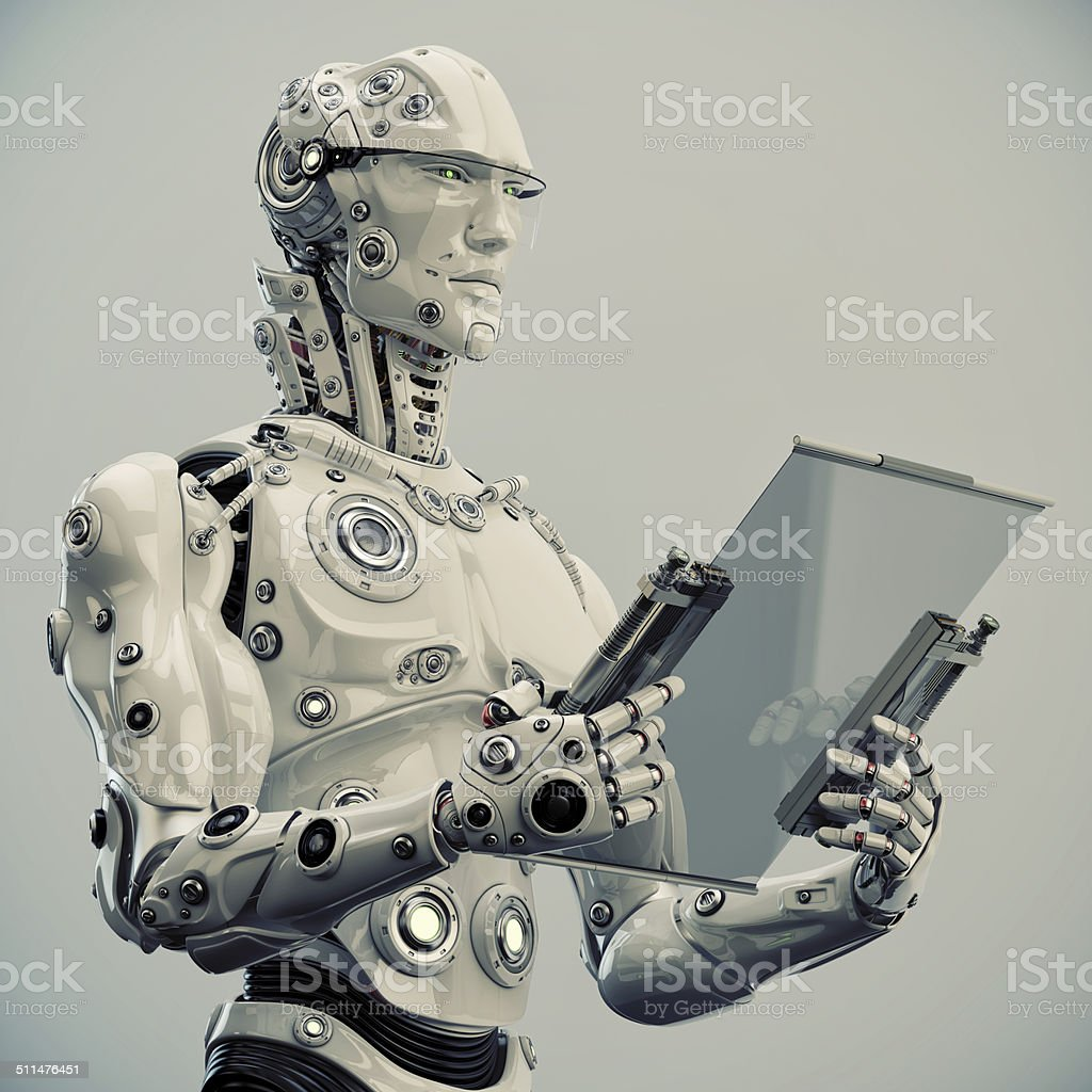 Stylish robot holds tablet stock photo