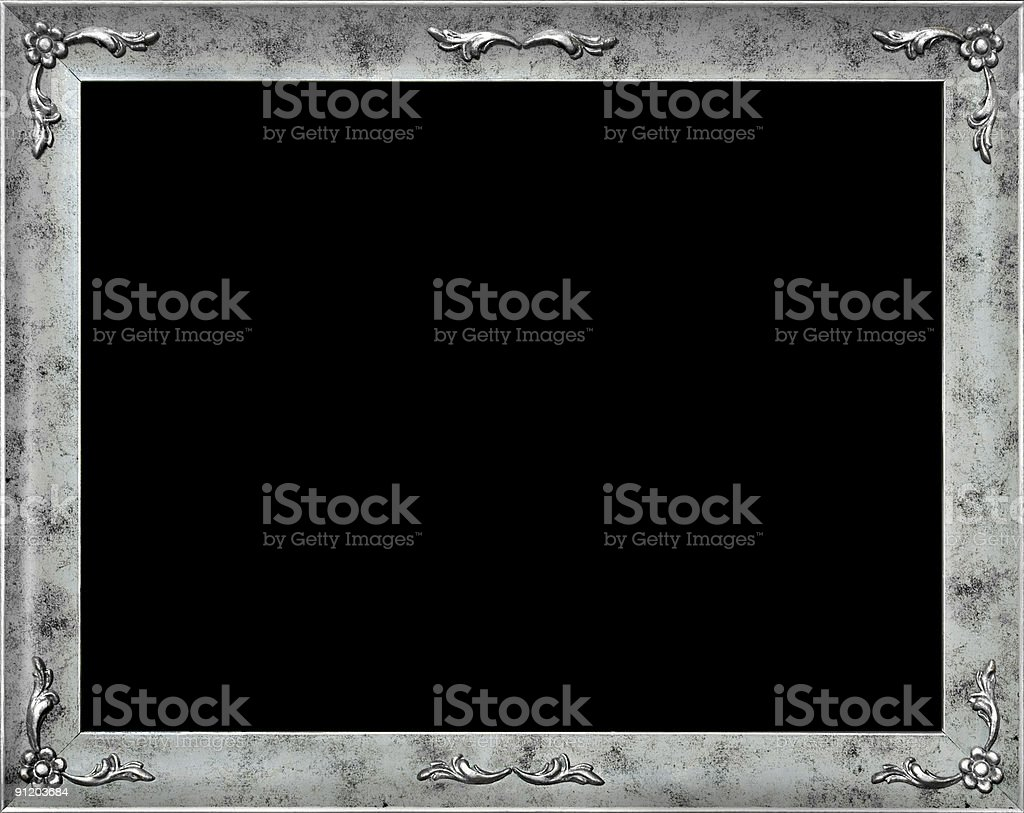 Stylish silver frame with flowers stock photo