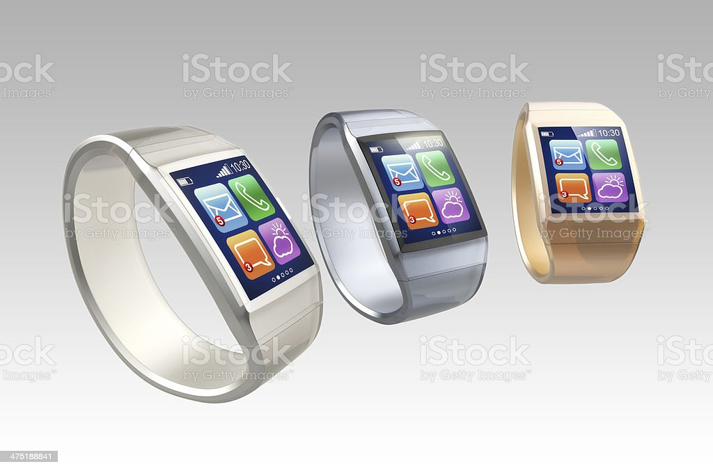 Stylish smart watches on gradient background royalty-free stock photo