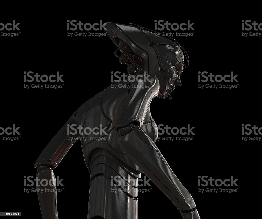 Stylish steel cyber girl on black royalty-free stock photo