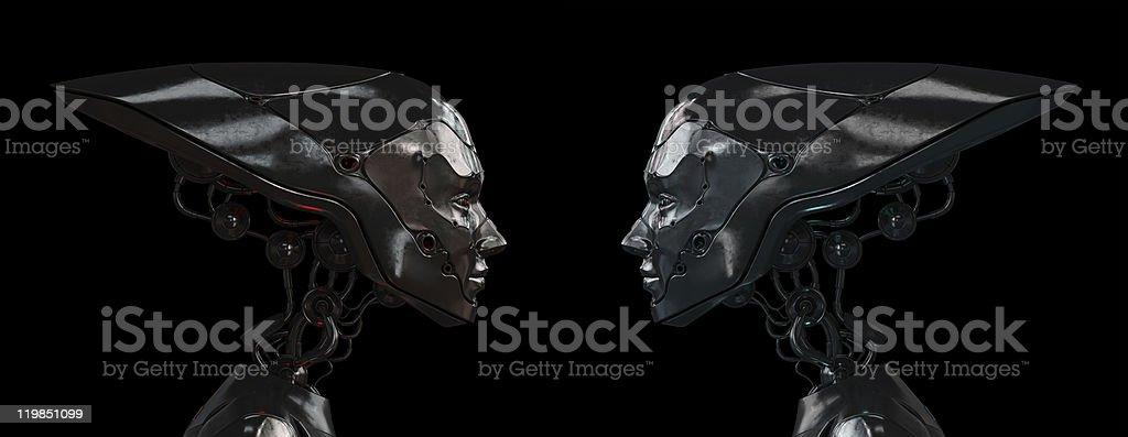 Stylish steel robotic girls royalty-free stock photo