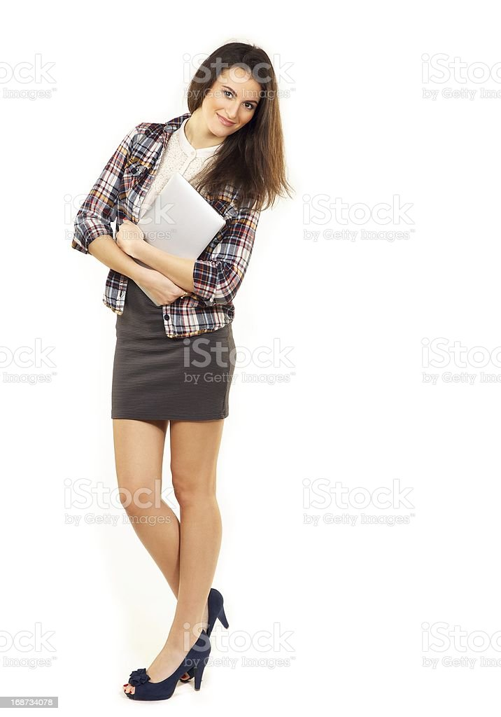 Stylish Student with Laptop in a Studio stock photo