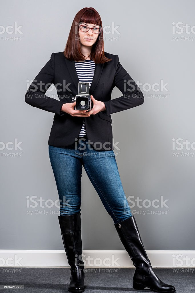 Stylish Teenager With Camera stock photo