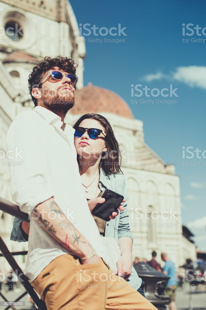 Stylish trendy couple in Firenze stock photo