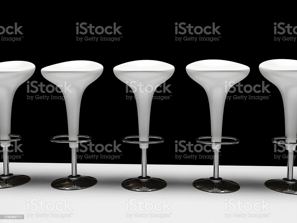 Stylish white cafeteria chair isolated on black background stock photo