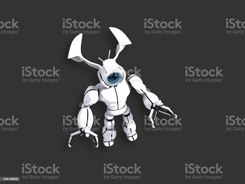 Stylish white robot with copy space stock photo