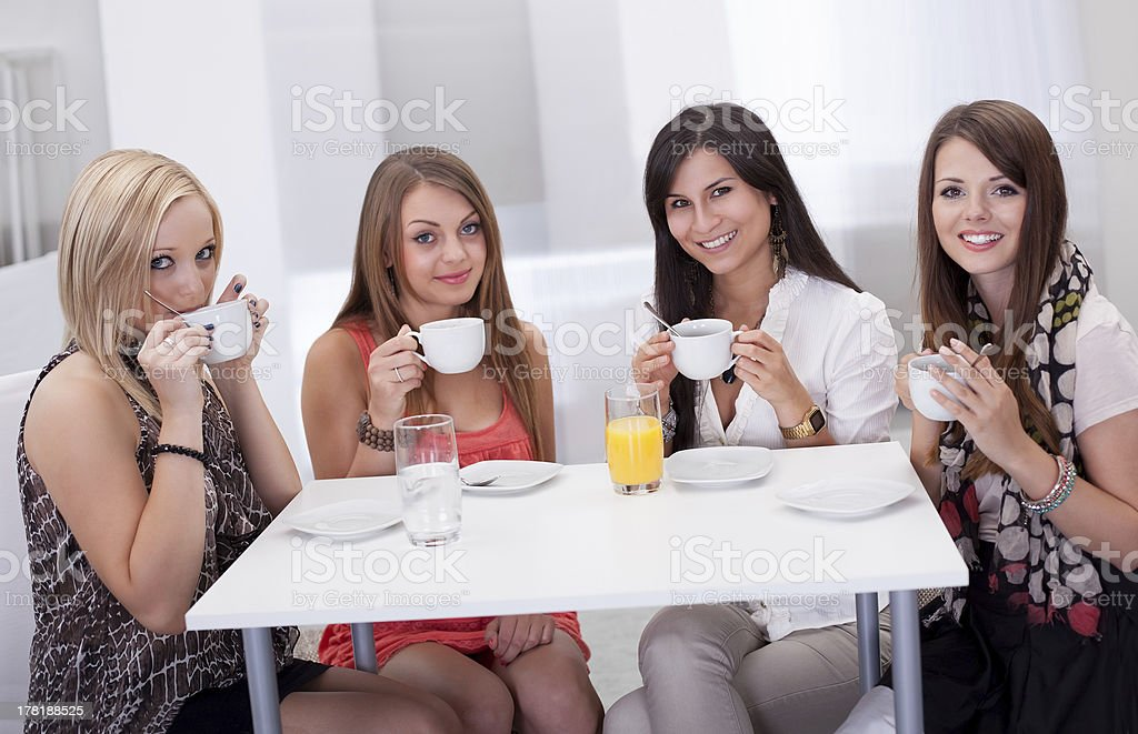 Stylish woman having coffee royalty-free stock photo