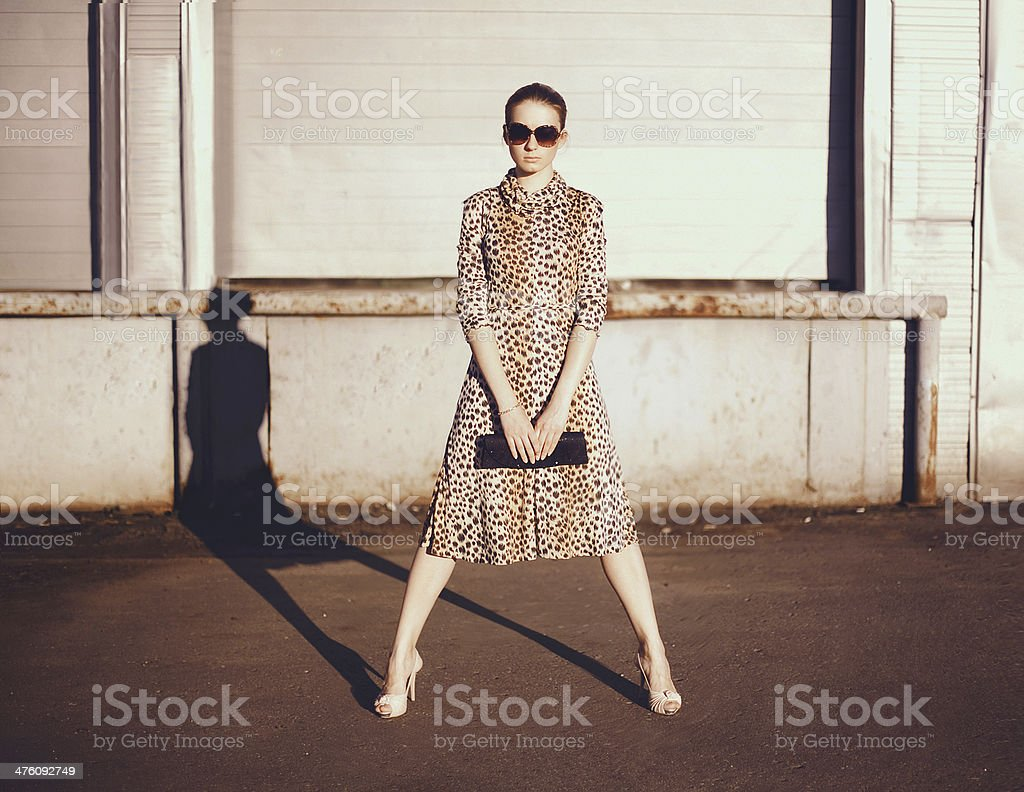 Stylish woman in a leopard dress, glasses and bag stock photo