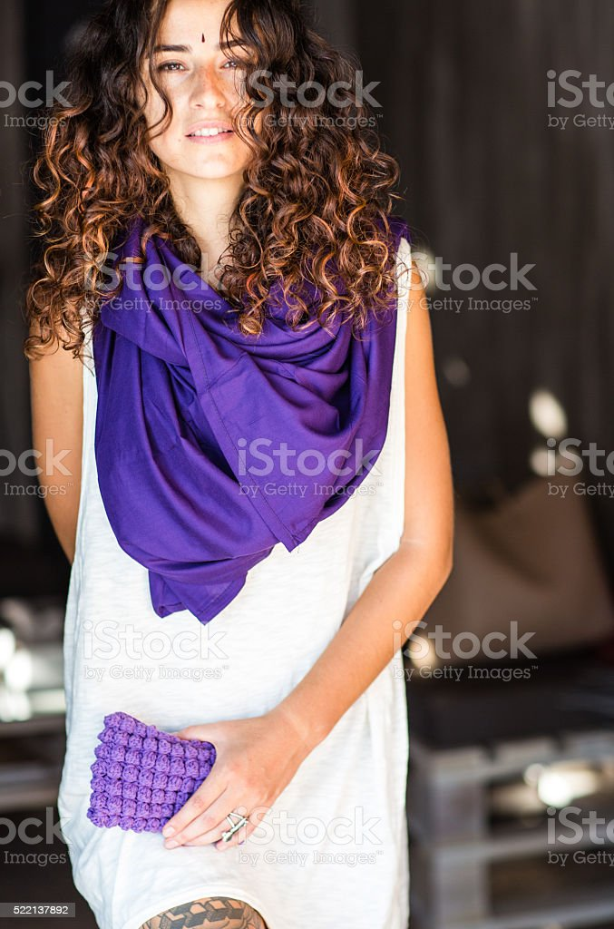 Stylish woman in cafe stock photo