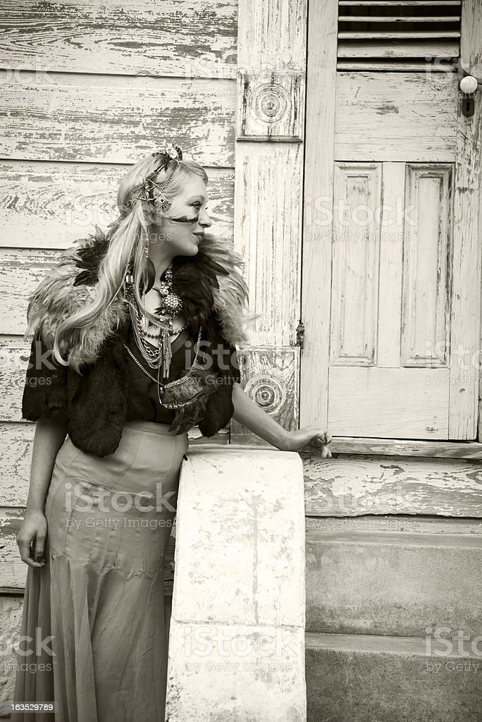 Stylish woman in New Orleans during Mardi Gras royalty-free stock photo