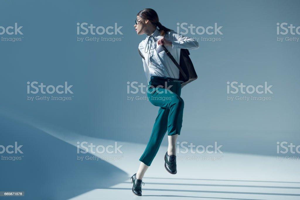 stylish woman in white shirt stock photo