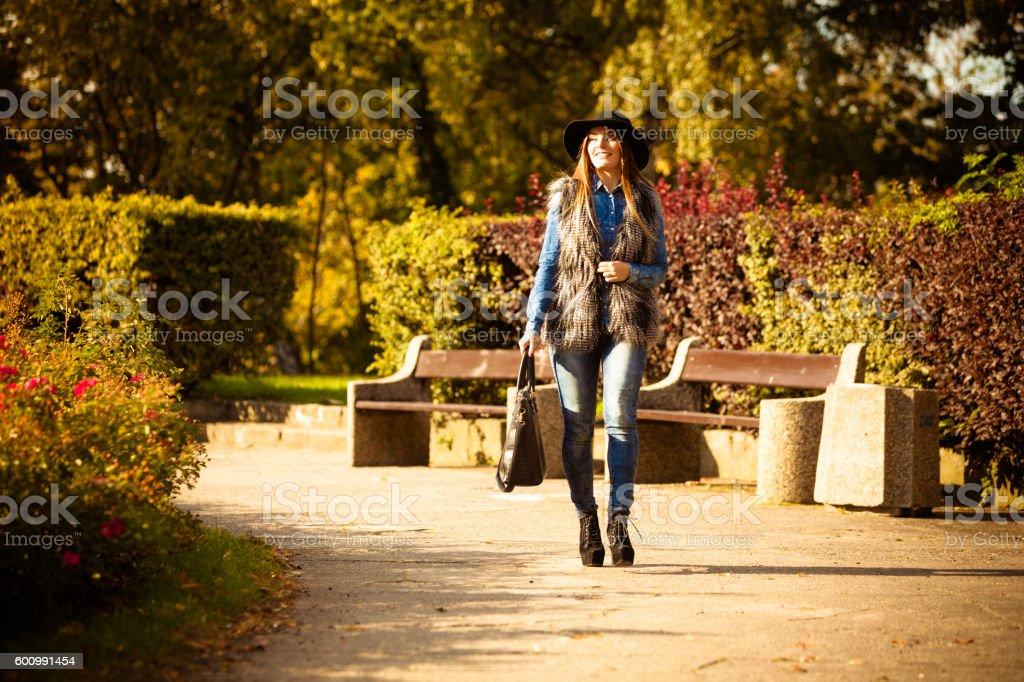 Stylish woman on air stock photo