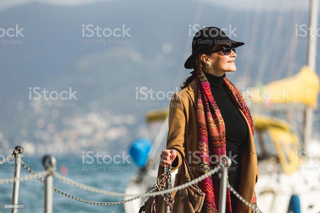 Stylish woman posing stock photo